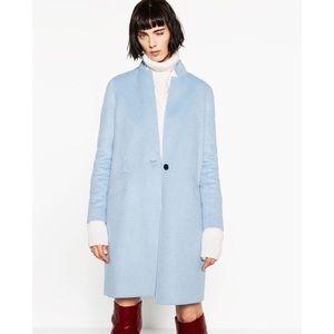 Zara Basic Blue Handmade Wool Blend Coat Medium